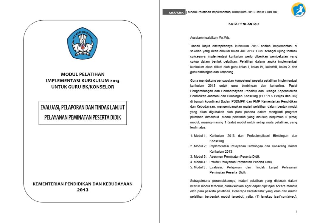 Modul Pelatihan Implementasi Kurikulum 2013 - Evalasi, Pelaporan, Dan Tindak Lanjut