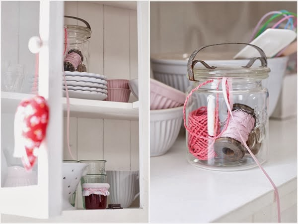 Jam jars for storing ribbons and trims