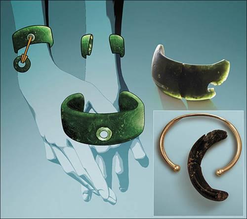 Reconstrucción general de cómo se habría visto el brazalete y la comparación con una pulsera moderna.