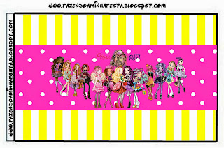 Etiquetas de Ever After High Amarillo y Rosa para imprimir gratis.