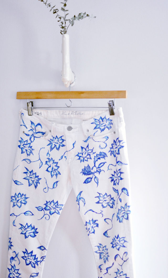 DIY floral print jeans