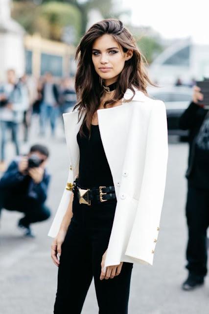 white blazer monochrome street style