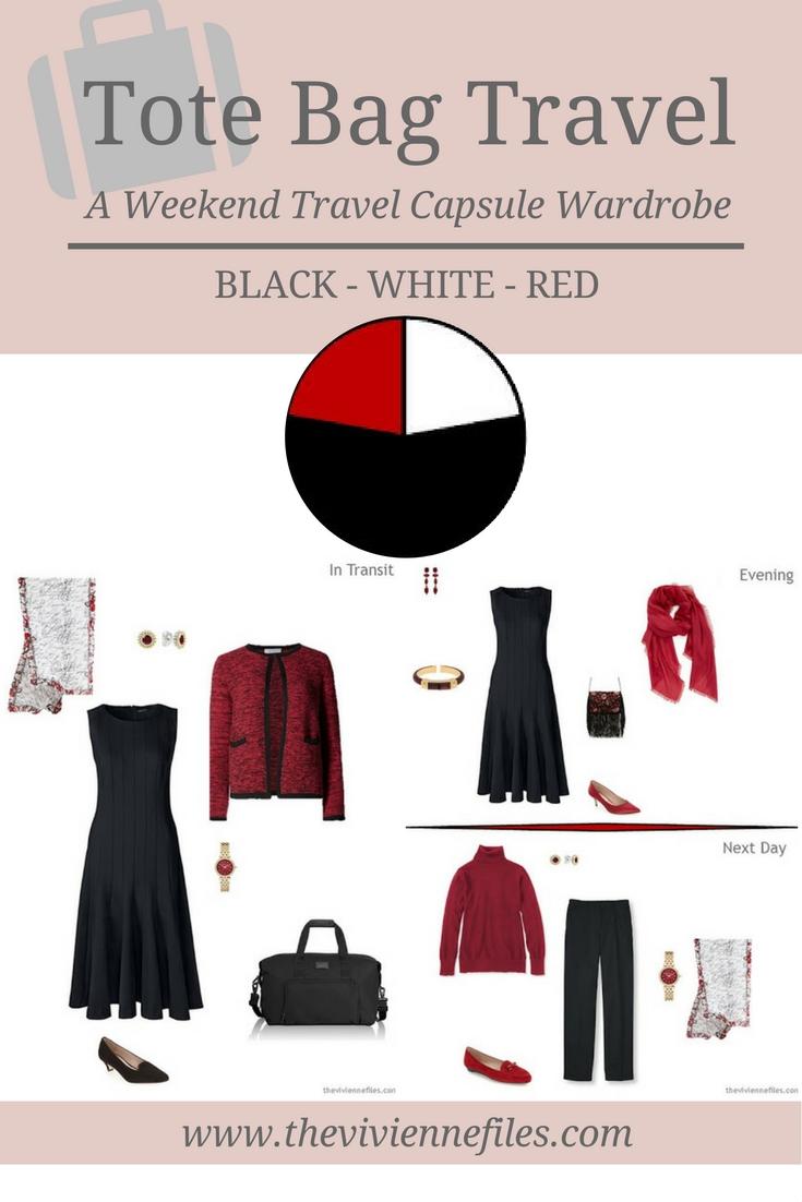 Tote Bag Travel Capsule Wardrobe In Black, White And Red