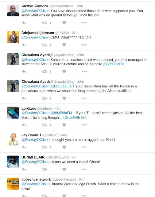 sunday oliseh resigns as Nigeria coach
