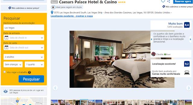 Estadia no Caesars Palace Hotel em Las Vegas