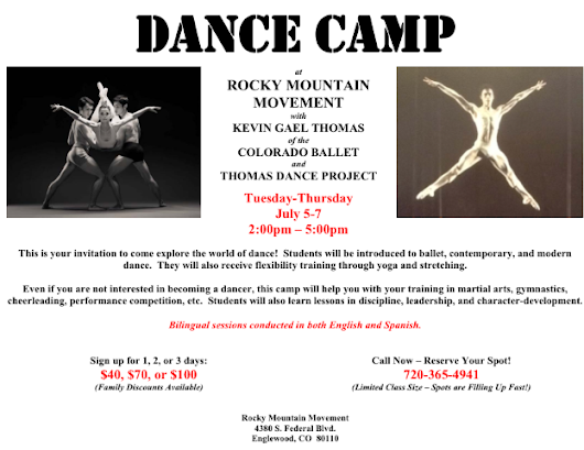 Come Join Us For DANCE CAMP!!!