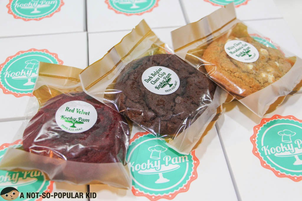 Red Velvet, Dark Belgian Choco Chip and White Choco Macadamia Oat of Kooky Pam