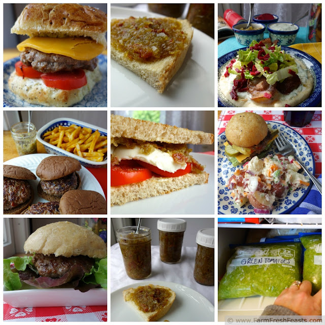 a collage of images of different ways to enjoy green tomato bacon jam