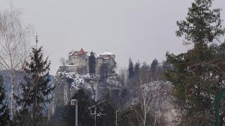 castel Bled lake snow