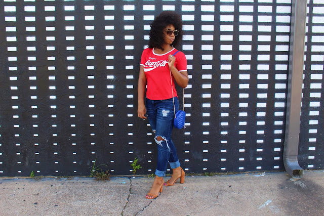 StyleGuruZak How to style Coca Cola Tee shirt with brown heels