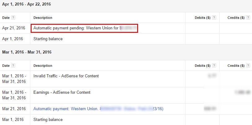 Google Adsense Payment History