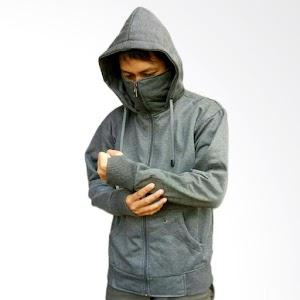 YM Jaket Sweater Ninja Polos - Abu Tua