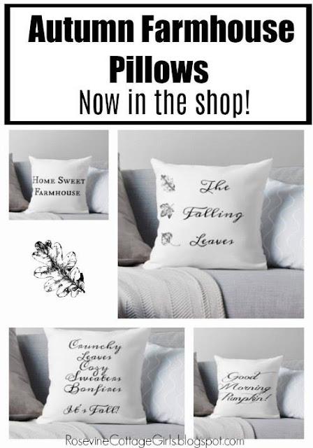 Autumn Farmhouse pillows in a collage