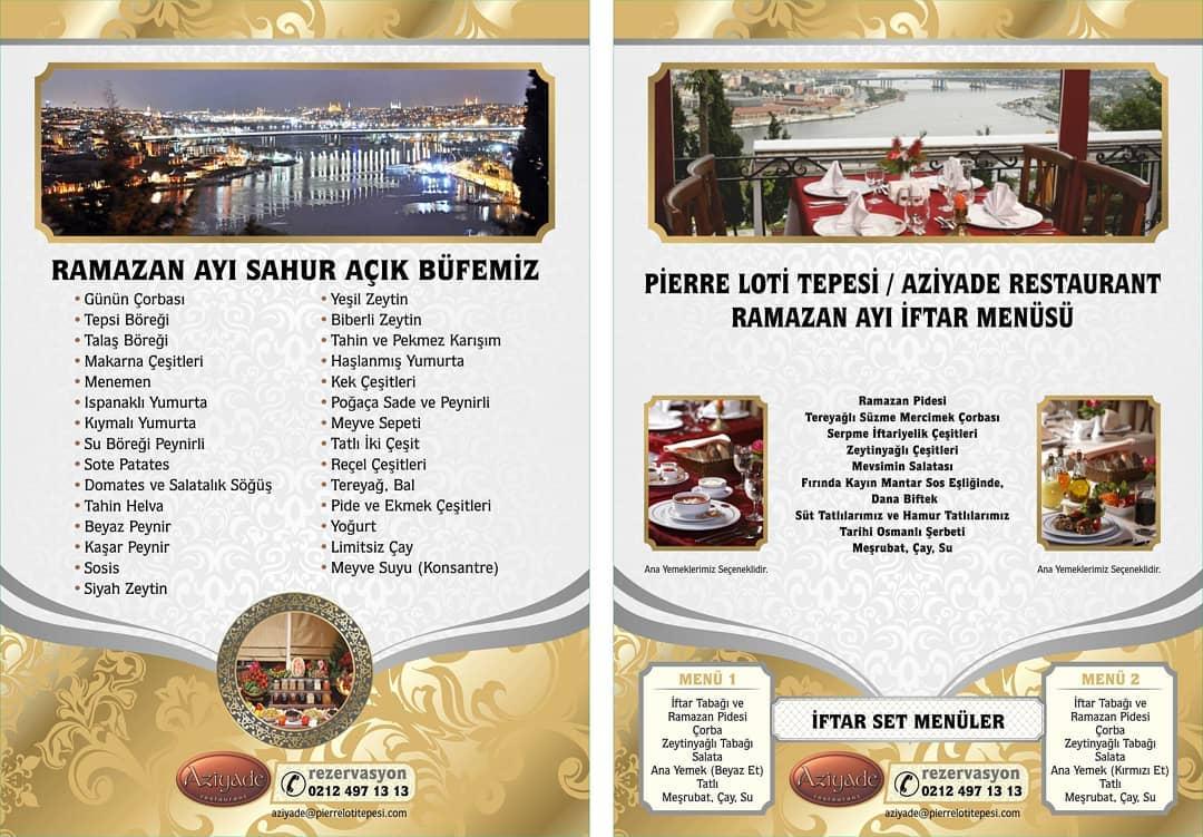 aziyade restaurant iftar menü fiyatları 2019 pierre loti iftar mekanları istanbul iftar mekanları