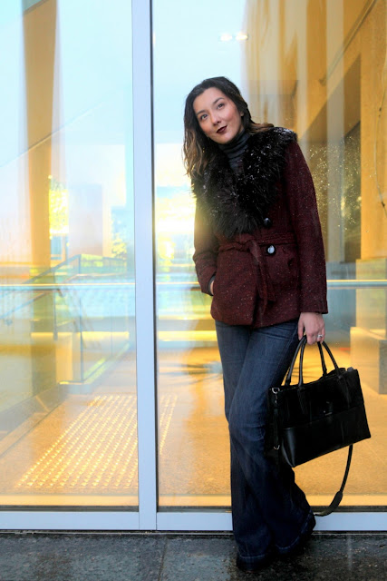 Burgundy coat and flare jeans