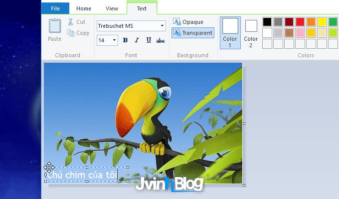 Cách chèn chữ vào ảnh trong Paint