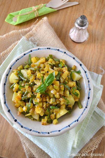 Salade haricots verts, pommes de terre et courgettes