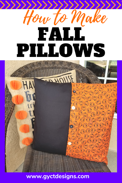 Step by step tutorial on how to make fall pillow covers for your patio pillows, couch pillows or as decorations for your favorite fall projects. Includes links for free Cricut cut files.