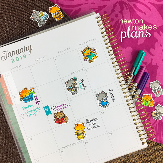 January Planner page with cats by Jennifer Jackson | It's a Plan and Newton Makes Plans Stamp Sets by Newton's Nook Designs #newtonsnook #handmade