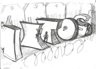 Espectro autista. Dibujo de obstáculos con las letras de la palabra mitos