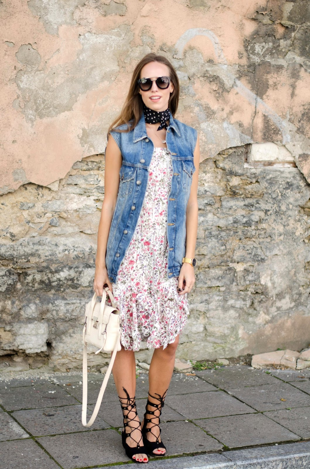 floral dress denim vest summer outfit