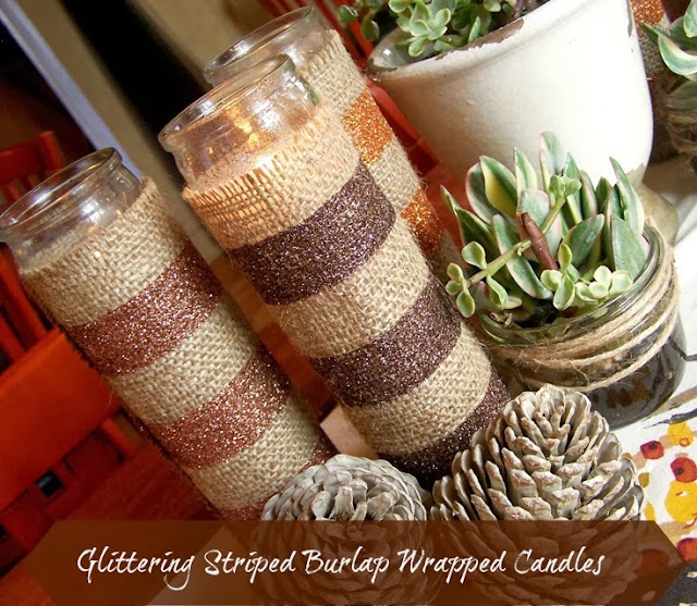 Glittering Burlap Candle Wrap by 504 Main