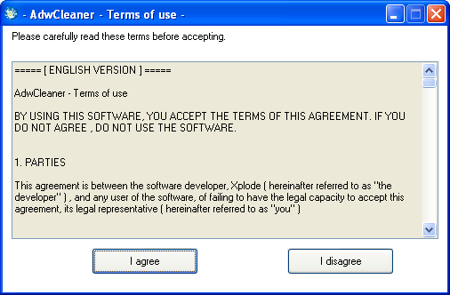 Terms of use AdwCleaner