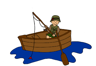 clip art image of a kid in a boat fishing