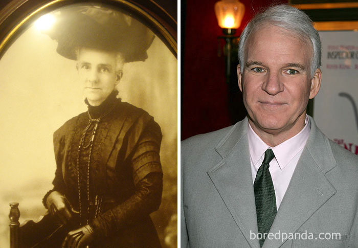 #6 My Friend's Boyfriend Had A Great Great Grandmother Who Looked Exactly Like Steve Martin If He Were In A Victorian-Era Cross-Dressing Comedy - 10 Celebrity Lookalikes That Prove Time Travel Exists
