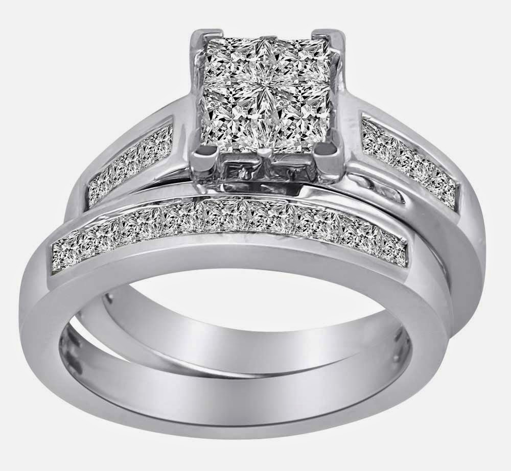 Square Diamond Bridal Ring Sets Under 500 Dollars Design ...