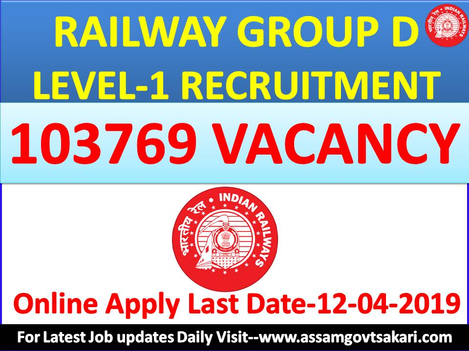 RRB Recruitment Apply Online:103769 Group D/Level 1 Posts for HSLC