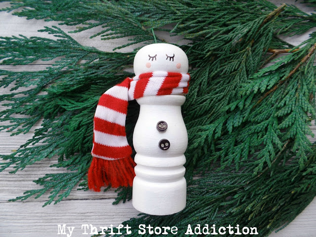 repurposed salt shaker snowman