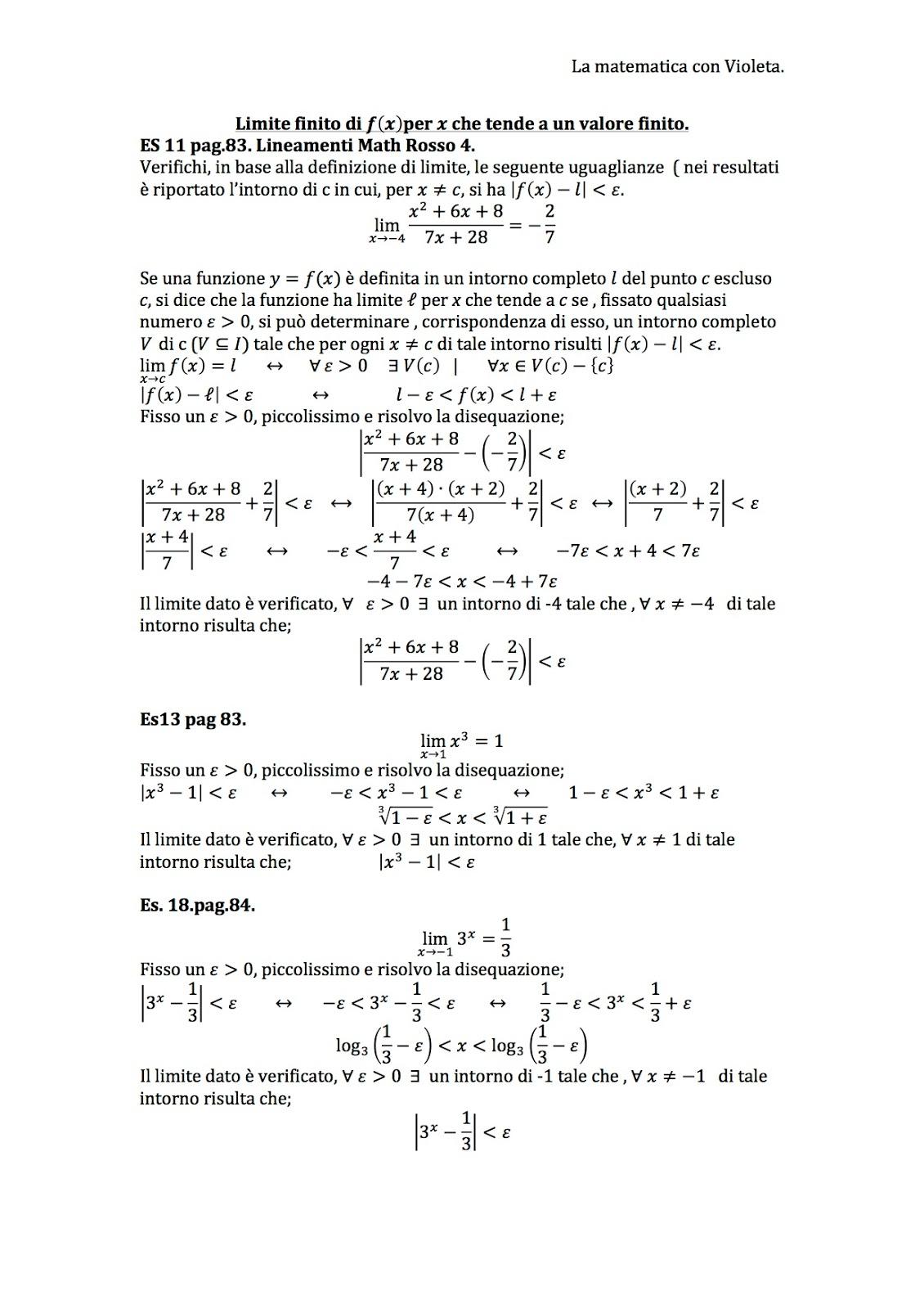 Limite Finito Per X Che Tende A Un Valore Finito.La Matematica Con Violeta Limite Finito Di F X Per X Che