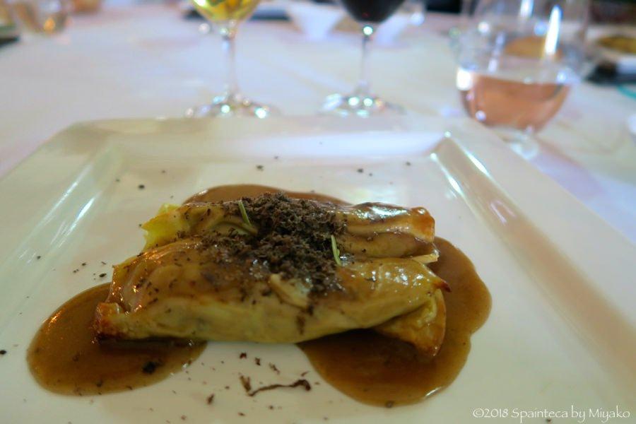 トレドのジビエ料理 うずらの煮込みを包んだカネローニ