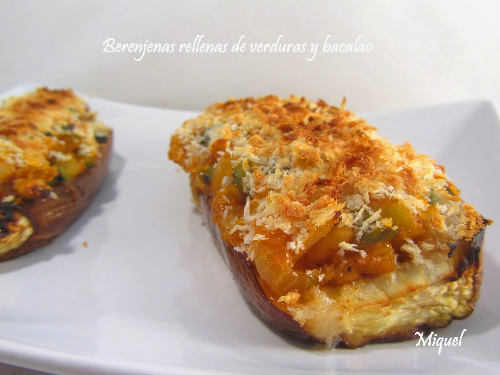 Les receptes del miquel berenjenas rellenas de verduras y - Berenjenas rellenas de bacalao ...