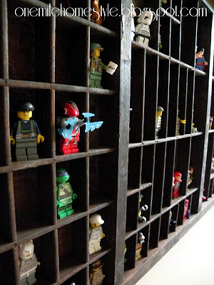 Lego mini-figure storage in a vintage printer's tray