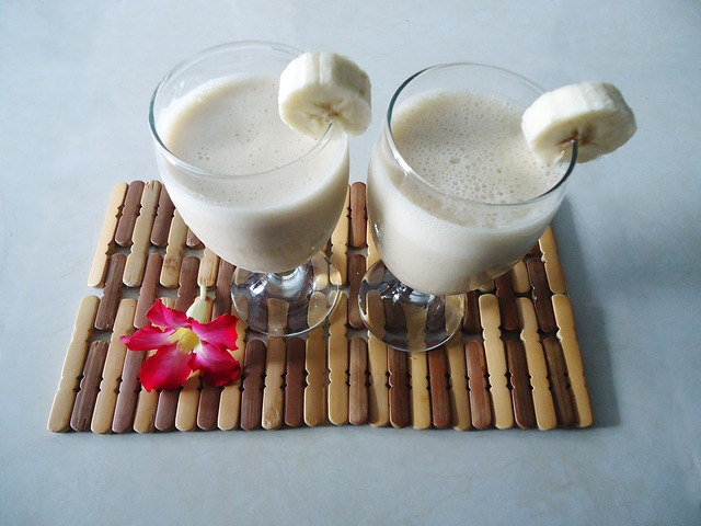 Peanut Butter Banana Smoothies in Glasses