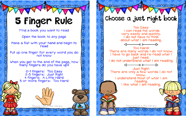 five finger rule posters and anchor charts