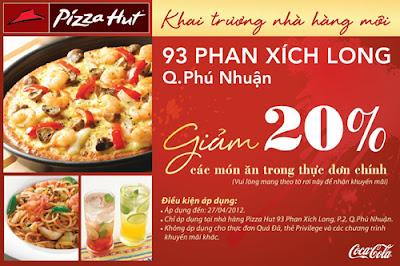 Mẫu tờ rơi của Pizza Hurt quảng cáo ngày khai trương cơ sở mới