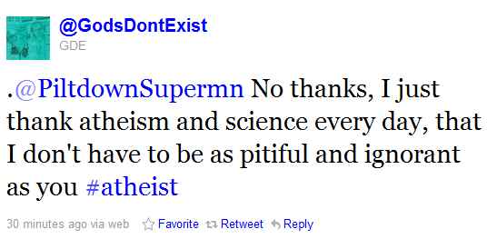 Another atheist bigot who worships scientism and atheism.