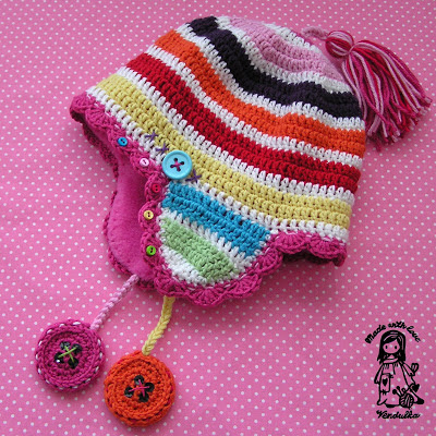 crochet, crochet for children, crochet hat, crochet patterns, lining of the hats, Magic with hook and needles, Vendula Maderska design, winter earflap