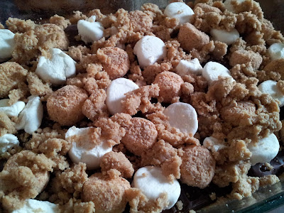 The s'mores bars are ready to bake now