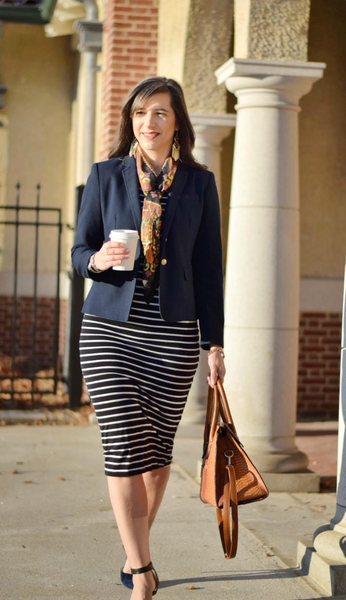 Navy Blazer and Square Scarf with Striped Dress for Work