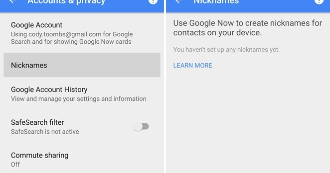 Google now nicknames