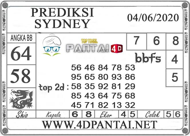 PREDIKSI TOGEL SYDNEY PANTAI4D 04 JUNI 2020
