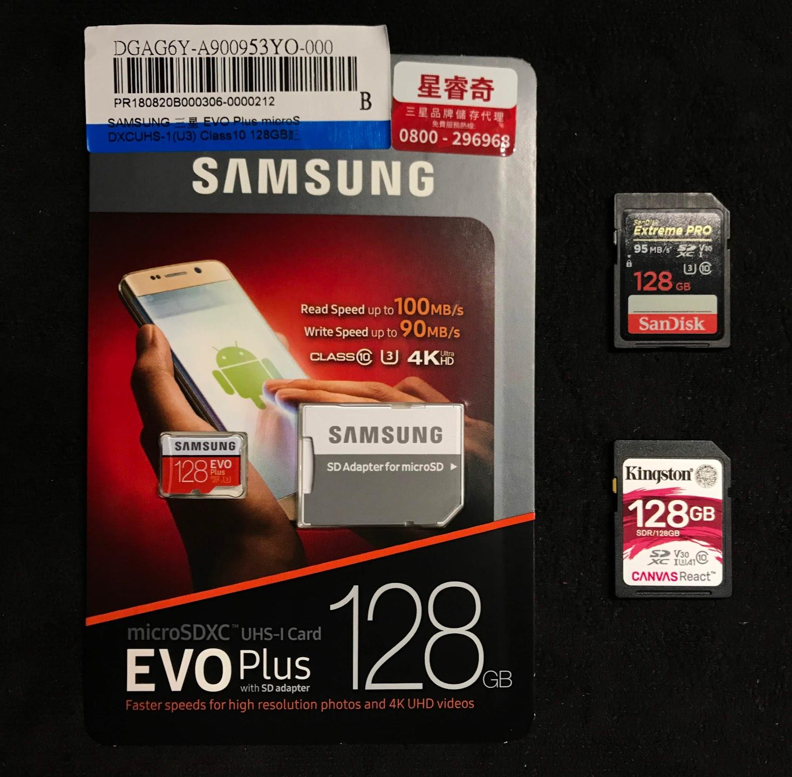 3c Samsung Evo Plus Microsd 128gb Micro Sd 128 Gb 100 90 Sandisk Extreme Pro Sdxc U3 V30 95 Kingston Canvas React 80