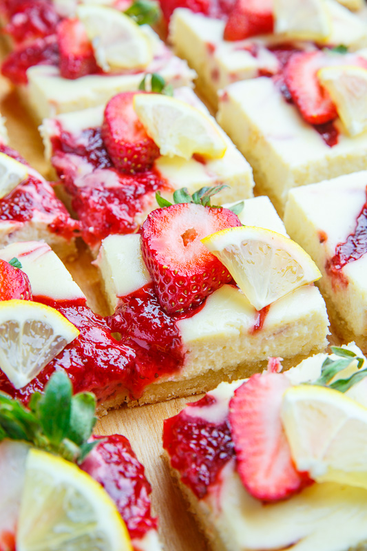 Strawberry Lemon Cheesecake Bars Recipe
