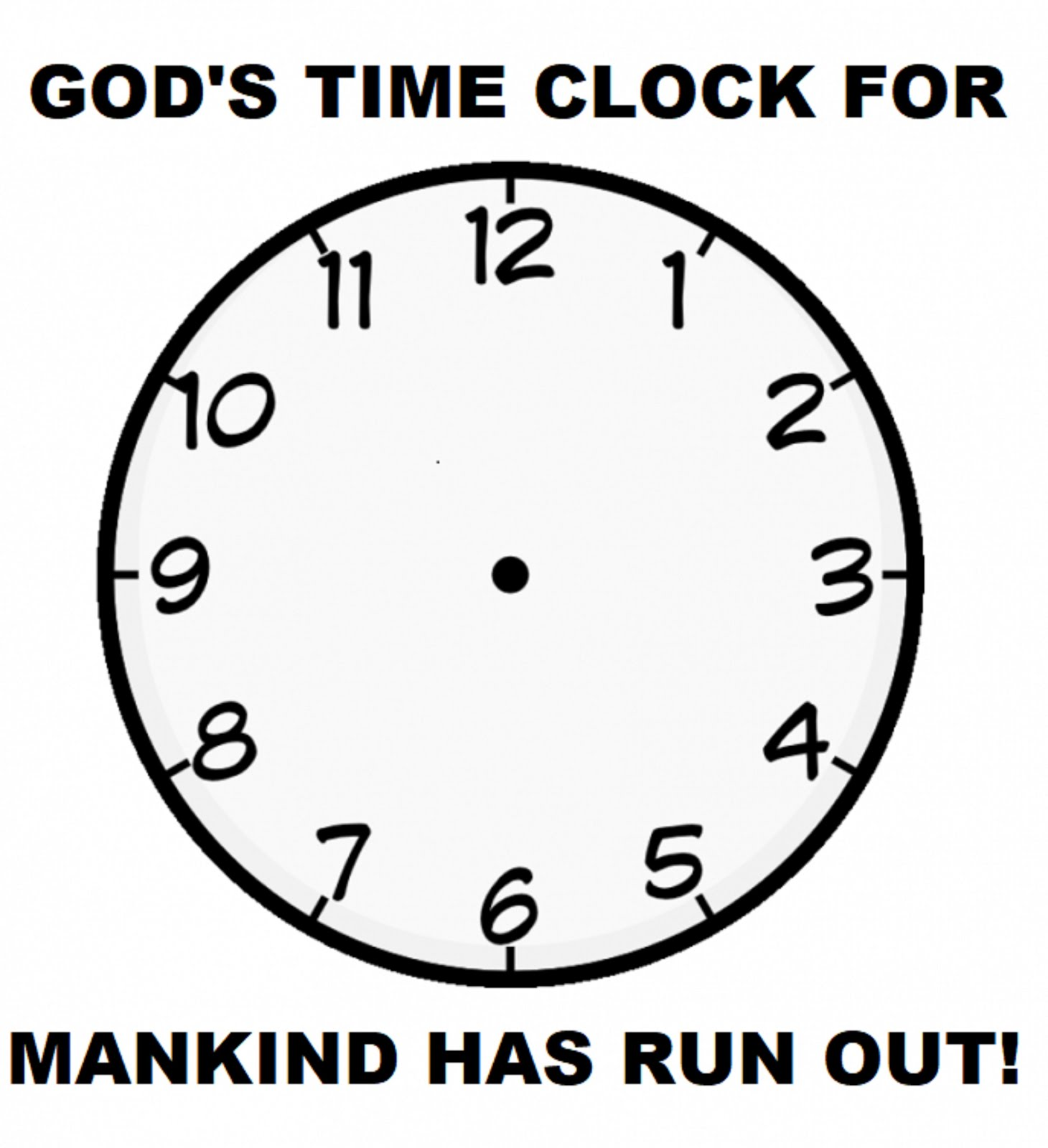 GOD'S TIME CLOCK FOR MANKIND HAS RUN OUT!