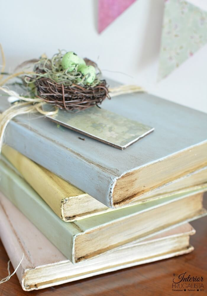 DIY Painted Decorative Books Aged