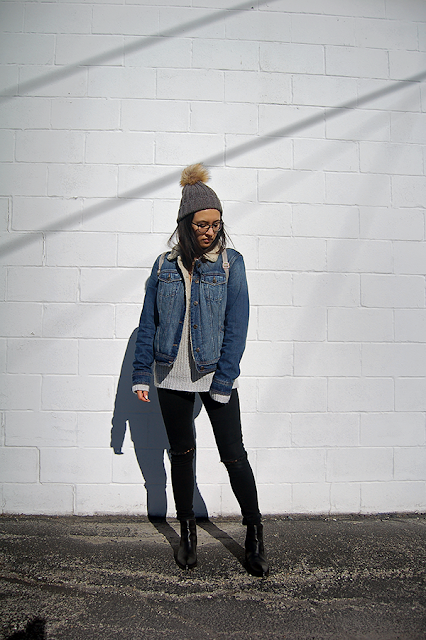 How to Style Denim Shearling Jacket